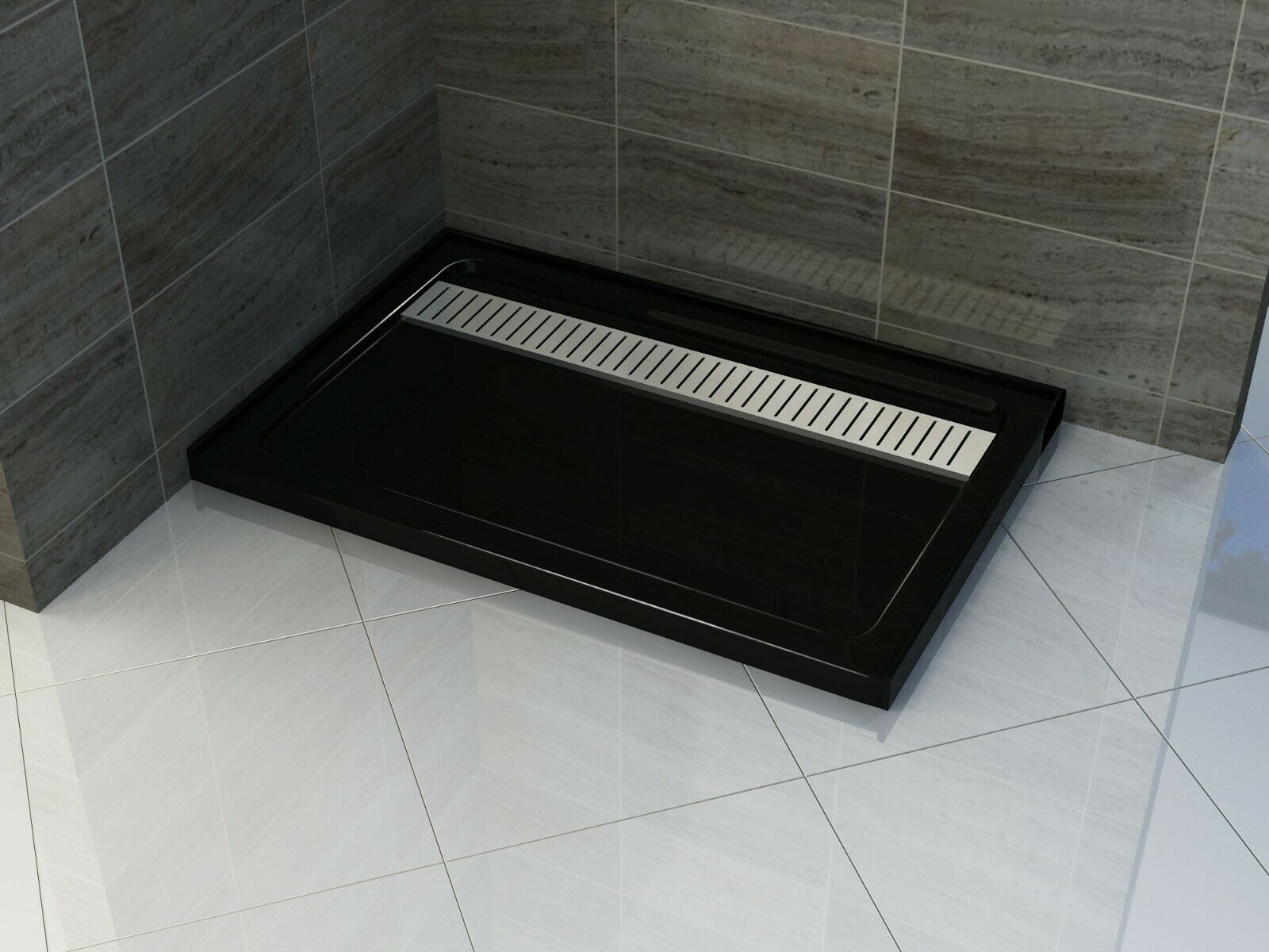 BLACK 900x1600MM SHOWER BASE WITH SS GRATE
