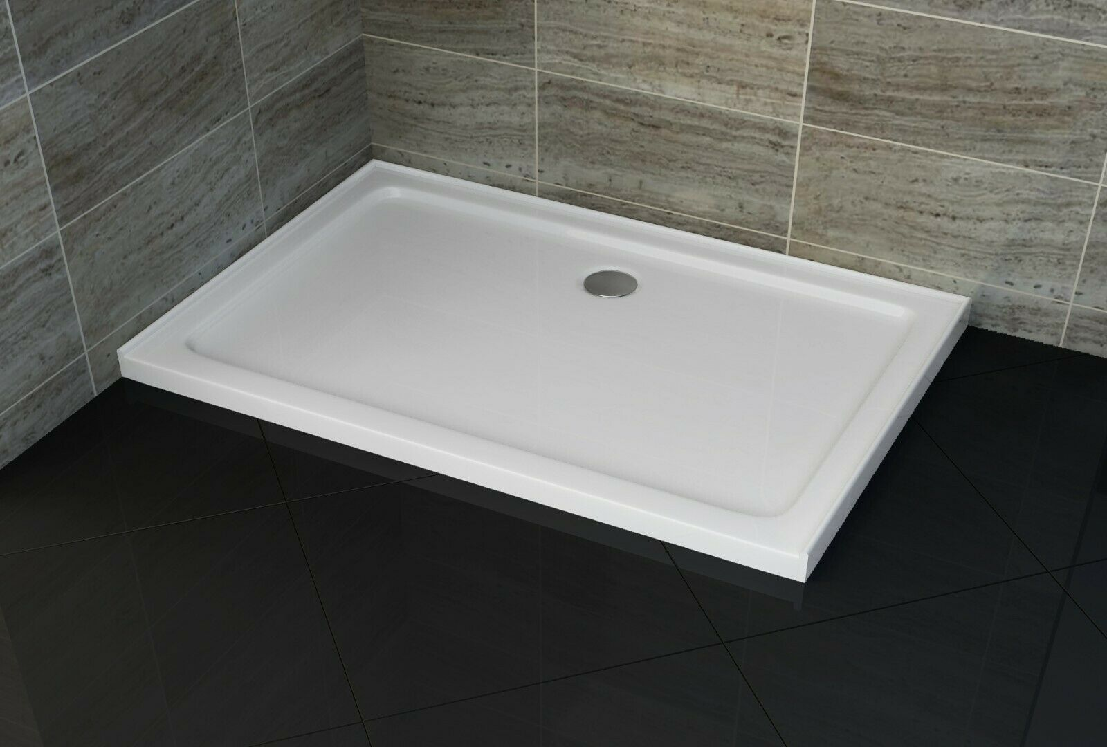 WHITE RECTANGULAR 900X1200 mm SHOWER BASE NO LEFT LIP **Free Delivery**