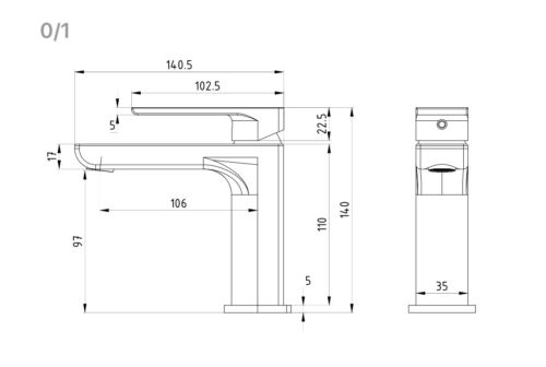 HIGH QUALITY ROUNDED SQUARE CHROME FINISH BASIN MIXER
