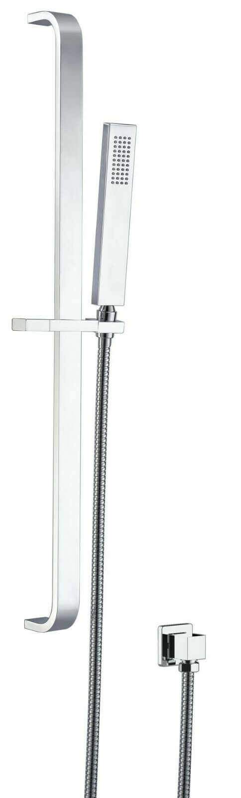 HIGH QUALITY SQUARED CHROME FINISH HANDHELD SHOWER WITH RAIL